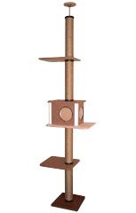 キャットタワー シングル型 ライトブラウン